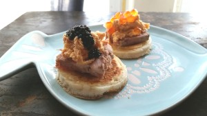 Caviar (black) and Salmon Roe (orange).
