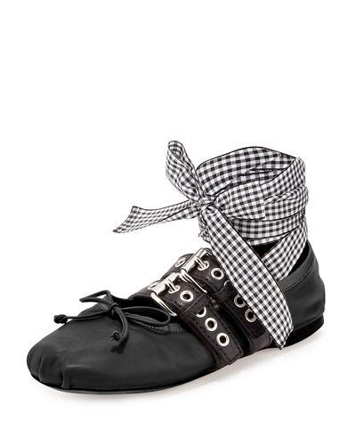 Miu Miu Cat Print Flats Shoes