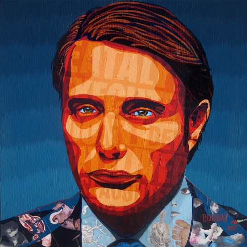 Mads Mikkelsen painting by Borbay.  Commissioned by Michelle Kenneth.
